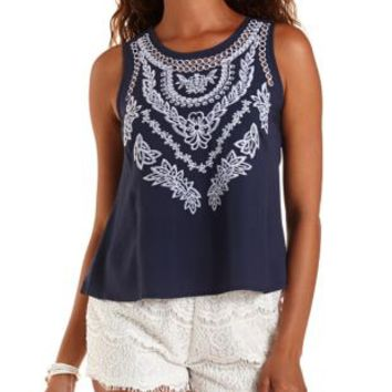 Navy Buttoned-Back Embroidered Tank Top by Charlotte Russe