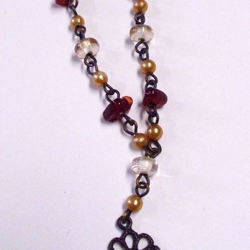 Bronze Tone Red Cream and Clear Glass Bead Floral Necklace