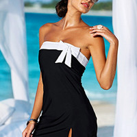 Wear  Bow Knot Black Skirt Swimwear  One-Piece Swimsuit Backles wear Strapless Swim Dress  SV000528