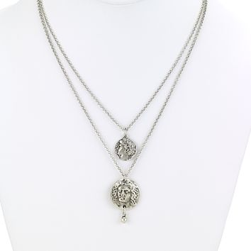 Layered Greek Coins Silver Necklace