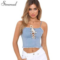 Simenual 2018 Summer crop top female shirt strap fashion slim lace up fringe hem denim women camis jeans tanks tops copped