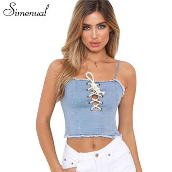 Simenual 2018 Summer crop top female shirt strap fashion slim lace up fringe hem sexy denim women camis jeans tanks tops copped