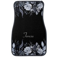 Black White Watercolor Floral Monogram Car Mats