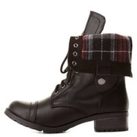 Plaid-Lined Fold-Over Combat Boots by Charlotte Russe - Black