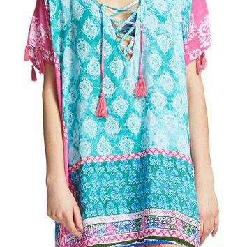Surf Gypsy Lace Up Border Print Coverup