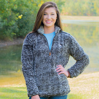 Heathered Quarter Zip Sherpa Pullover in Phantom Grey by The Southern Shirt Co.