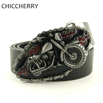 Designer PU Leather Belts Cool 3D Motorcycle Red Flame