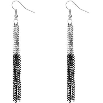 Silver Black Extra Long Chain Earrings