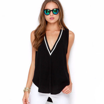 Deep V Neck Black Sleeveless Long T Shirt