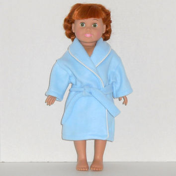 American Girl Doll Blue Fleece Robe with White Trim fits 18 inch dolls