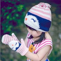 Toddler and Baby Girl's Cute Pink Smily Penguin Knitted Cotton Beanie Hat and Mitten Set