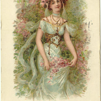 Antique Postcard - European Girl - Flowers - Victorian - Early 1900s