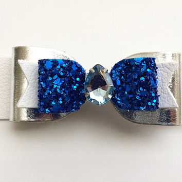 Autism awareness Blue and white glitter and leather hair clip, Girls Sparkling Hair Clip, Autism Leather Bow, nautical hair clip
