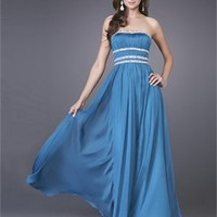 A-line Strapless Sequin Drape Steelblue Floor-length Prom Dress PD1538
