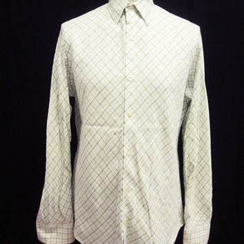 Retro Smart White Green Check Banana Republic Long Sleeved Button Down Shirt S