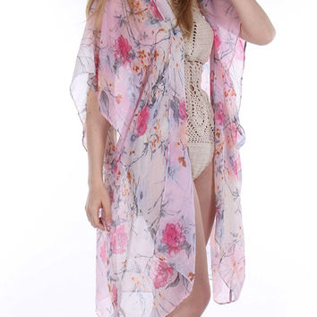 Sheer Woven Sleeved Floral Print Duster-Pink