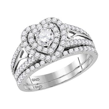 14kt White Gold Womens Round Diamond Heart Bridal Wedding Engagement Ring Band Set 1-1-5 Cttw