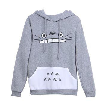 New Fashionable Women Cartoon Totoro Hoodie Casual Sweatshirt Gray Unisex Pullover Long Sleeve Coat Male Female Hoodies