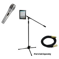 Pyle Mic and Stand Package - PDMIK1 Professional Moving Coil Dynamic Handheld Microphone - PMKSPAD1 Multimedia Microphone Stand With Adapter for iPad 2 (Adjustable for Compatibility w/iPad 1) by Pyle - PPMCL15 15ft. Symmetric Microphone Cable XLR Female to