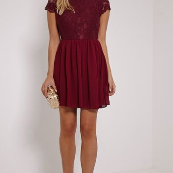 Ella Burgundy High Neck Lace Skater Dress - Dresses - PrettylittleThing | PrettyLittleThing.com