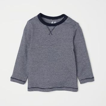 Jersey Top - Dark blue/narrow striped - Kids | H&M US