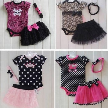 3pc Baby Girl Top Bottom Headband Tutu Set