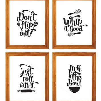 Printable set of four kitchen art- kitchen wall decor, 8 x 10 funny kitchen wall art