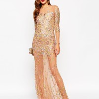 ASOS RED CARPET Embellished Illusion Fishtail Maxi Dress