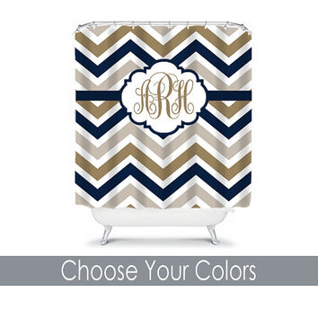 Shower Curtain Monogram Name CUSTOM Choose Colors Navy Beige Tan Mocha Chevron Pattern Bathroom Bath Polyester Made in USA