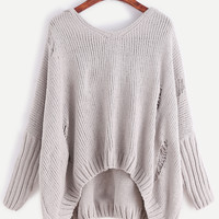 Pale Grey Ripped High Low Hooded Frayed Sweater -SheIn(Sheinside)