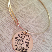 Hand stamped women's gold bronze or silver bangle bracelet with quote Spirit lead me where my trust is without borders Alex and Ani Style
