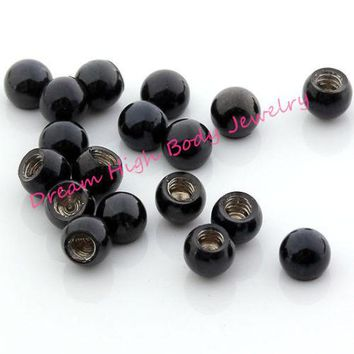 Screw Black Ball Round Bead Steel Navel Nose Body Piercing Jewelry Lip stud Barbell Eyebrw Ring 16G 3mm ball accessory
