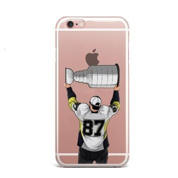 Coque Soft silicone TPU  Sidney Crosby Phone Cases for iPhone 6 6s 5 5s SE 7 7Plus NFL Sport Stars