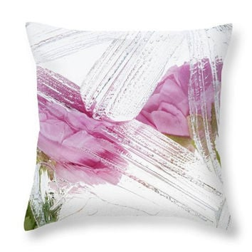 Botanical Pink White Throw Pillow Cover, Accent Pink Flowers Pillow, Seat Cushion Pink Flowers Floral Photo Art, Floral Accent Pillow