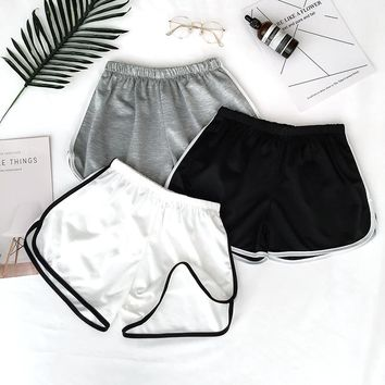 Women Sport Fitness Yoga Shorts High Street Casual Lady Shorts Loose Solid Casual Running Athletic Sport Clothes Jogging Female