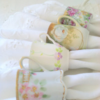 Upcycled Antique and Vintage Demitasse Bone China Tea Cup Napkin Rings Set of 4 Shabby Chic Decor Tea Party Housewarming Gift Inspiration