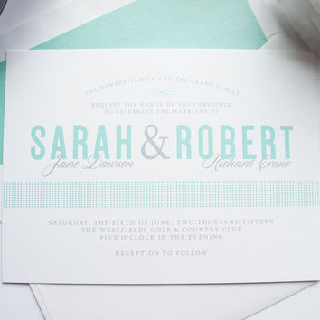 Mint Blue Wedding Invitation - DEPOSIT