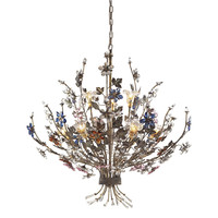 ELK 9 Light Chandelier In Bronzed Rust And Multi Colored Crystal Florets - 9108/6+3
