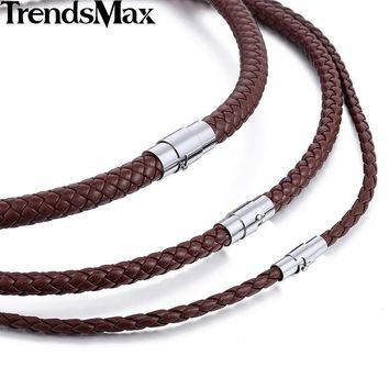 Trendsmax 4/6/8mm Brown Braided Cord Rope Man-made Leather Necklace w/ Silver Tone Magnetic Clasp UNM27