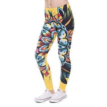Psychedelic Tattoo Flower Yellow Leggings