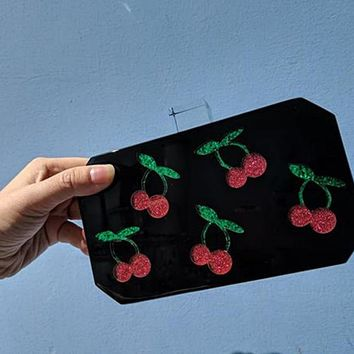 Black Cherry Acrylic Vintage Box Clutch Bag