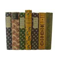 Farmhouse Chic Decorative Books in Green, Blue, Earth-tones, and Rust, S/7