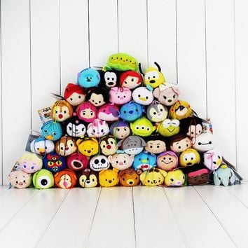 9-10CM Tsum Tsum Mini Plush Toy Screen Cleaner Mermaid Dumbo Stitch Jack Alice Cheshire Cat Avengers Alien Princess Doll
