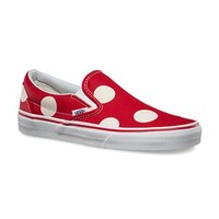 Vans Classic Slip On Shoes in Red and White Dots for Women VN-0ZMRFJM