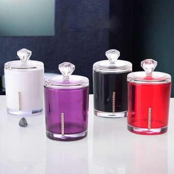 1PCS Clear Acrylic Multi-function Cotton Swab Toothpick Storage Holder Cosmetic Storage Boxes