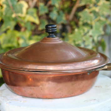 Copper Fry Pan with Lid - Vintage - Plastic Handle - Copper Clad