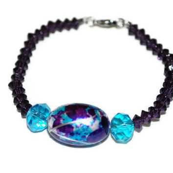 Sky Blue and Purple Beaded OOAK Bracelet by chumaka on Etsy
