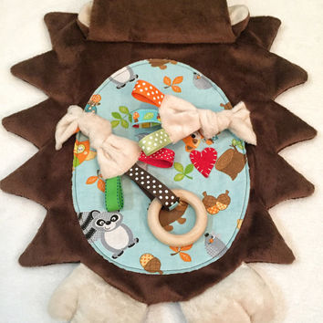 Hedgehog Baby Lovey Blanket Toy Teething Crib Decor Cuddle Buddy