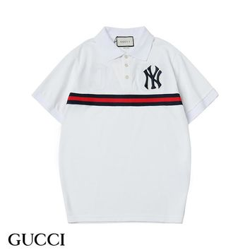 GUCCI & NY Summer Fashion New Bust And Back Embroidery Lapel Leisure Top T-Shirt White