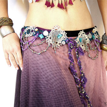 Beaded Belt, Bohemian Belt,  Gypsy Belt, Coin Belt, Tribal Fusion belt, Hippie Belt, Boho Belt, Chain Belt, Dancer Belt, Festival Belt, 87